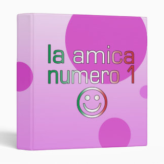 La Amica Numero 1 in Italian Flag Colors for Girls 3 Ring Binder