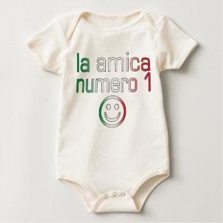La Amica Numero 1 in Italian Flag Colors for Girls Baby Bodysuit