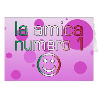 La Amica Numero 1 in Italian Flag Colors for Girls Card