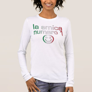 La Amica Numero 1 in Italian Flag Colors for Girls Long Sleeve T-Shirt