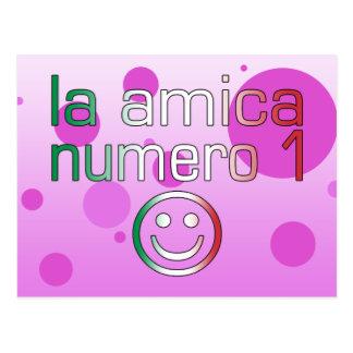 La Amica Numero 1 in Italian Flag Colors for Girls Postcard