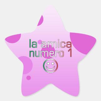 La Amica Numero 1 in Italian Flag Colors for Girls Star Sticker
