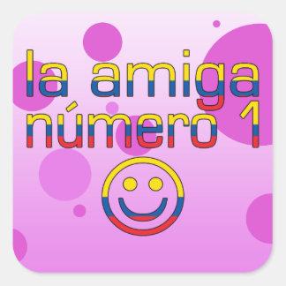 La Amiga Número 1 Ecuadorian Flag Colors 4 Girls Square Sticker