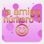 La Amiga Número 1 en los colores españoles de la Calcomanias Cuadradas