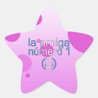 La Amiga Número 1 Guatemalan Flag Colors 4 Girls Star Sticker