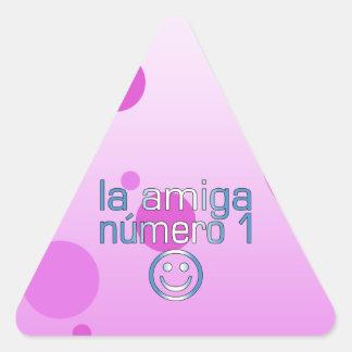 La Amiga Número 1 Guatemalan Flag Colors 4 Girls Triangle Sticker
