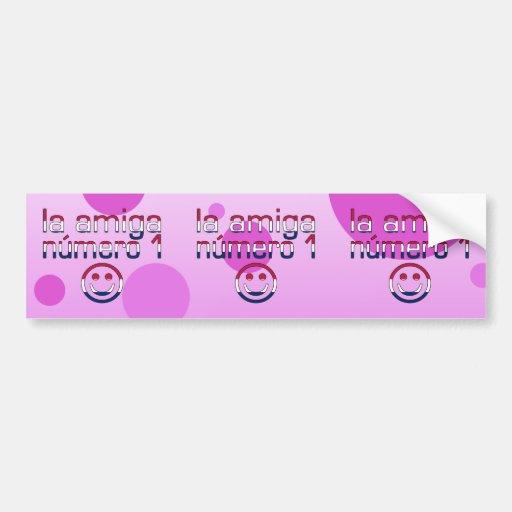 La Amiga Número 1 in American Flag Colors 4 Girls Car Bumper Sticker