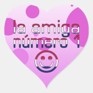 La Amiga Número 1 in American Flag Colors 4 Girls Heart Sticker