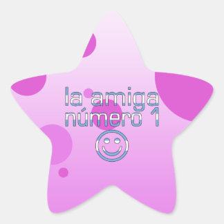 La Amiga Número 1 in Argentine Flag Colors 4 Girls Star Sticker