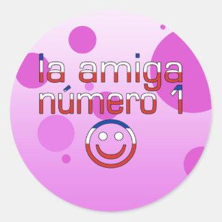 La Amiga Número 1 in Chilean Flag Colors for Girls Classic Round Sticker