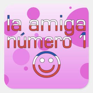 La Amiga Número 1 in Chilean Flag Colors for Girls Square Sticker