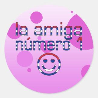 La Amiga Número 1 in Cuban Flag Colors for Girls Classic Round Sticker