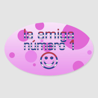 La Amiga Número 1 in Cuban Flag Colors for Girls Oval Sticker