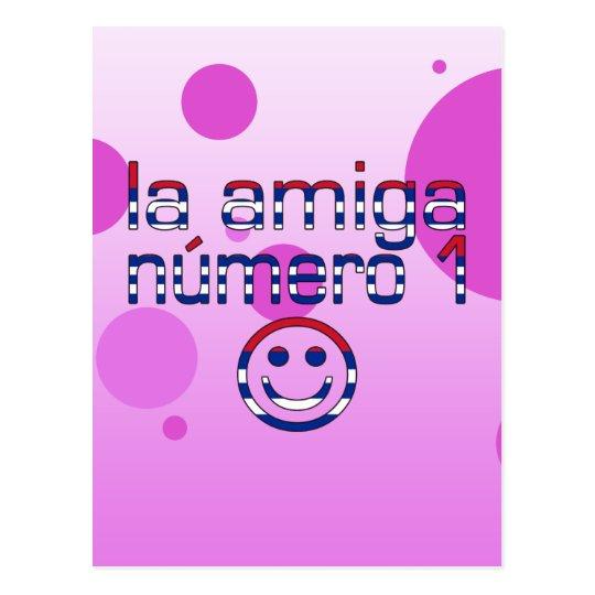 La Amiga Número 1 in Cuban Flag Colors for Girls Postcard