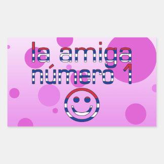 La Amiga Número 1 in Cuban Flag Colors for Girls Rectangular Sticker