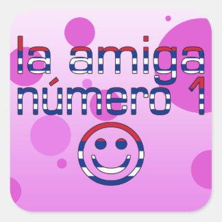 La Amiga Número 1 in Cuban Flag Colors for Girls Square Sticker