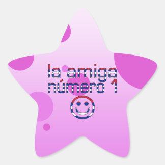 La Amiga Número 1 in Cuban Flag Colors for Girls Star Sticker