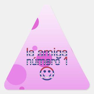 La Amiga Número 1 in Cuban Flag Colors for Girls Triangle Sticker