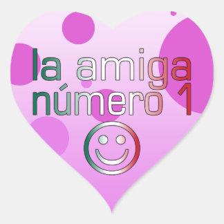 La Amiga Número 1 in Mexican Flag Colors 4 Girls Heart Sticker