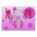La Amiga Número 1 in Peruvian Flag Colors 4 Girls Greeting Cards