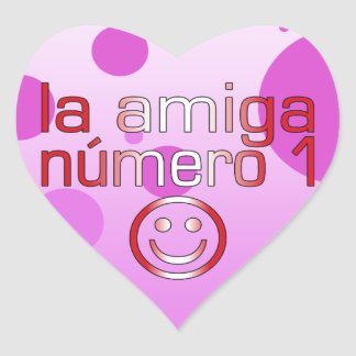 La Amiga Número 1 in Peruvian Flag Colors 4 Girls Heart Sticker