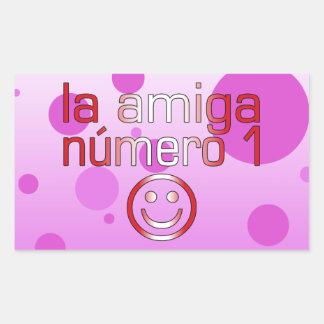 La Amiga Número 1 in Peruvian Flag Colors 4 Girls Rectangular Sticker