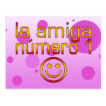 La Amiga Número 1 in Spanish Flag Colors for Girls Postcard