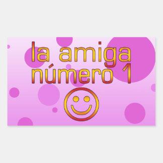 La Amiga Número 1 in Spanish Flag Colors for Girls Rectangular Sticker