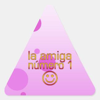 La Amiga Número 1 in Spanish Flag Colors for Girls Triangle Sticker