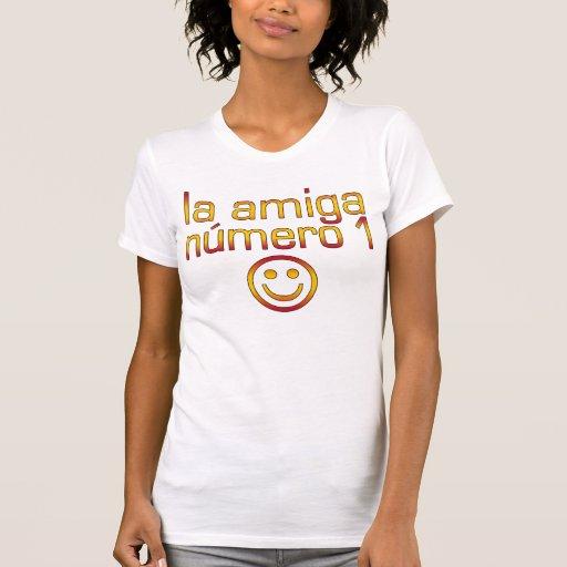 La Amiga Número 1 in Spanish Flag Colors for Girls T Shirts