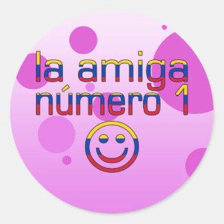La Amiga Número 1 Venezuelan Flag Colors 4 Girls Classic Round Sticker