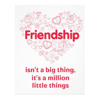 La amistad es cita linda de millón de cosas membrete a diseño