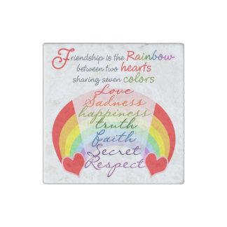 La amistad es el arco iris BFF que dice diseño Imán De Piedra