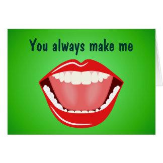 La amistad grande de la boca le agradece las tarjeta de felicitación