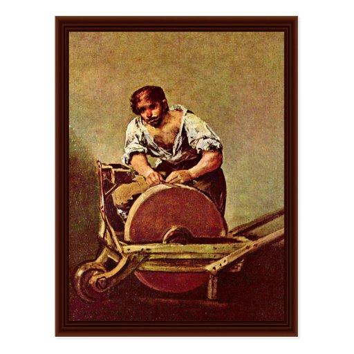 La amoladora (EL Afilador) por Francisco De Goya Postal