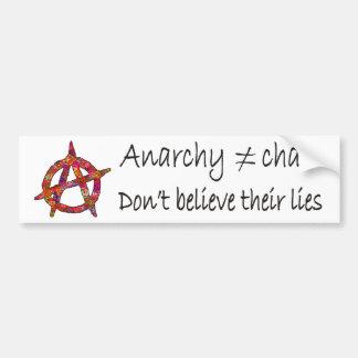 La anarquía no significa caos pegatina de parachoque