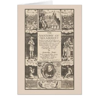 La anatomía del grabado antiguo melancólico tarjeta de felicitación