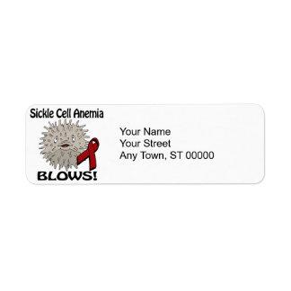La anemia de la célula falciforme sopla diseño de etiqueta de remite