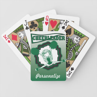 La animadora verde oscuro el   personaliza baraja de cartas bicycle