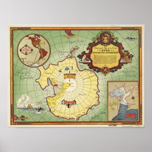 La Antártida - 2do mapa 1934 de Anqitue de la Póster