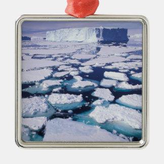 La Antártida, flujo del hielo Adorno Navideño Cuadrado De Metal