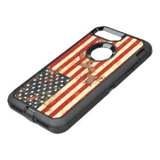 La antigüedad aherrumbró la bandera americana los funda OtterBox defender para iPhone 7 plus