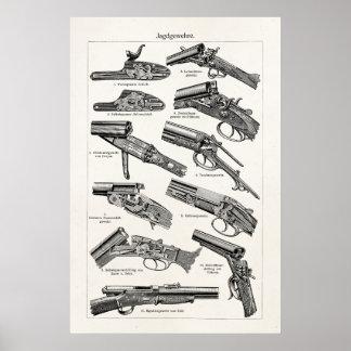 La antigüedad de la escopeta de los 1800s del vint impresiones