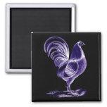 La antigüedad inspiró el gallo futurista retro de  imán de nevera