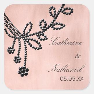 La antigüedad Jewels a los pegatinas del boda, Pegatina Cuadrada
