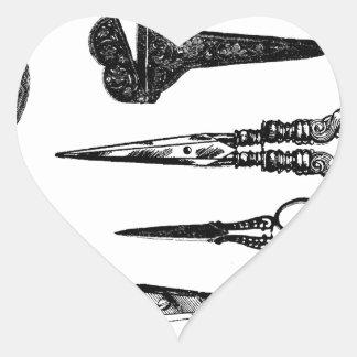 La antigüedad Scissors la ilustración Calcomanía Corazón Personalizadas