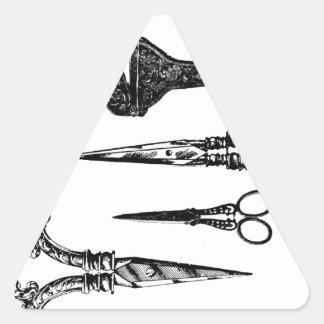La antigüedad Scissors la ilustración Calcomanía Triangulo Personalizadas
