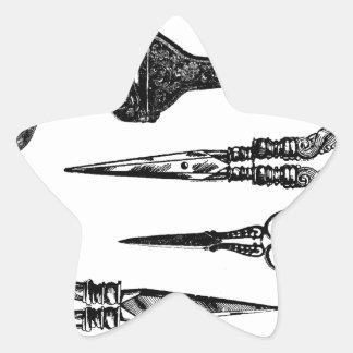 La antigüedad Scissors la ilustración Pegatinas Forma De Estrellaes Personalizadas
