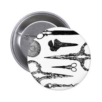 La antigüedad Scissors la ilustración Pin Redondo De 2 Pulgadas