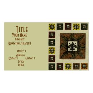 La antigüedad tejó la flor de lis (Brown) Tarjeta De Visita